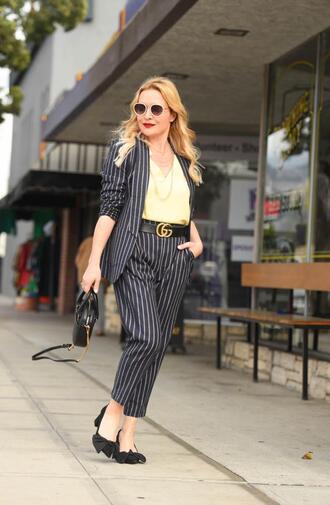thehuntercollector blogger top shoes jewels belt bag suit blazer striped pants striped jacket pumps gucci belt