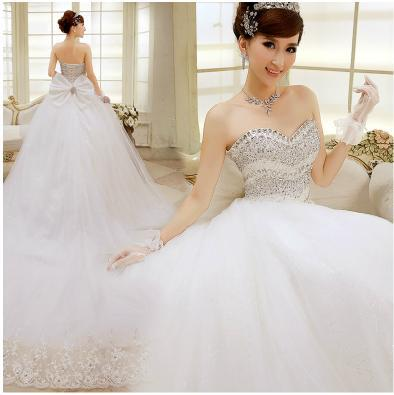 2014 new spring long tail bridal white large size wedding dresses luxury diamond straps seaside beach wedding dresses