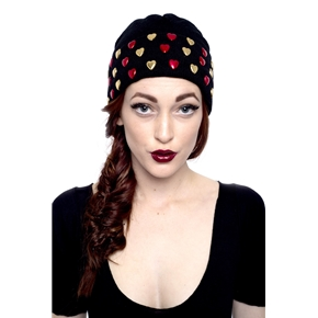MARIALIA - Black Beanie with Heart Studs