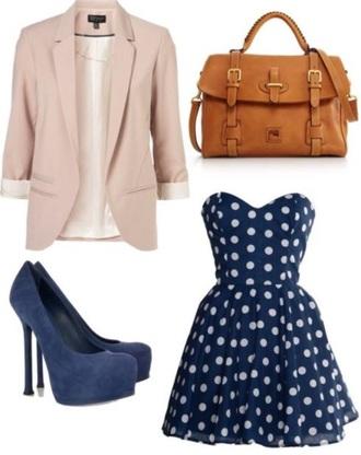 dress polka dots shoes bag