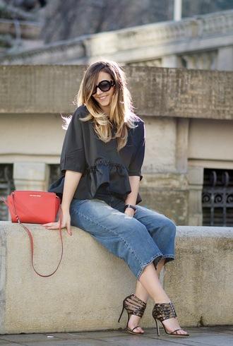 let's talk about fashion ! blogger sunglasses blouse jeans bag shoes jewels denim culottes culottes denim cropped jeans black top peplum top peplum three-quarter sleeves red bag michael kors bag michael kors round sunglasses sandals sandal heels high heel sandals