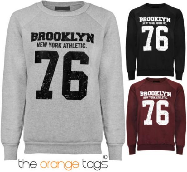 sweater ladies warm long sleeves brooklyn print sweatshirt top silver wine black sportswear swag streetstyle urban outfitters