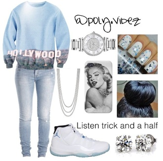 top pants phone cover blouse jordans shorts shirt jeans shoes blue sweater cute watch cute hollywood marilyn monroe cute nails air jordens silver chain jacket bag white & blue jordan's marilyn monroe cover hollywood jacket