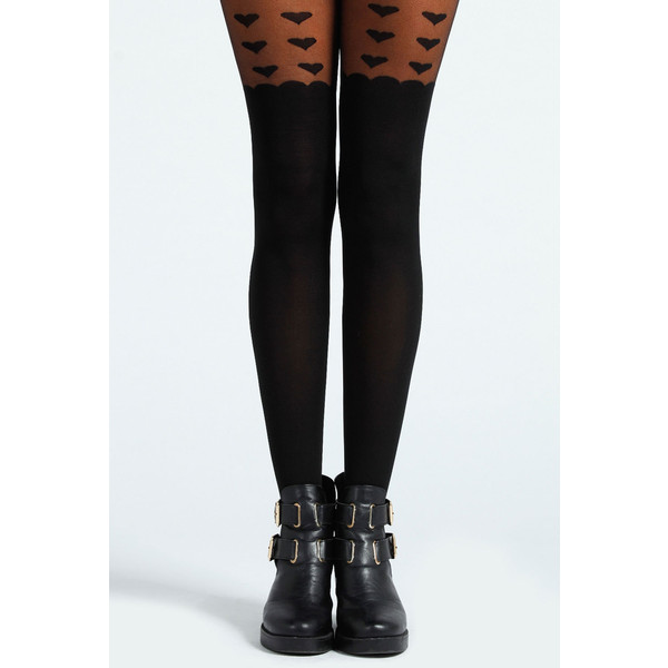 Boohoo Micha Heart Mock Suspender Tights - Polyvore