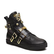 shoes,versace leather hi-top sneakers