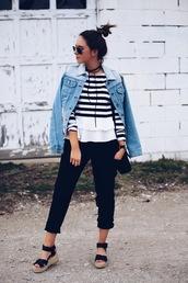 fashionably kay,blogger,bag,jacket,sunglasses,jewels,denim jacket,stripes,striped top,long sleeves,black pants,wedges,black bag