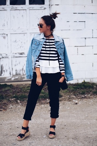 fashionably kay blogger bag jacket sunglasses jewels denim jacket stripes striped top long sleeves black pants wedges black bag