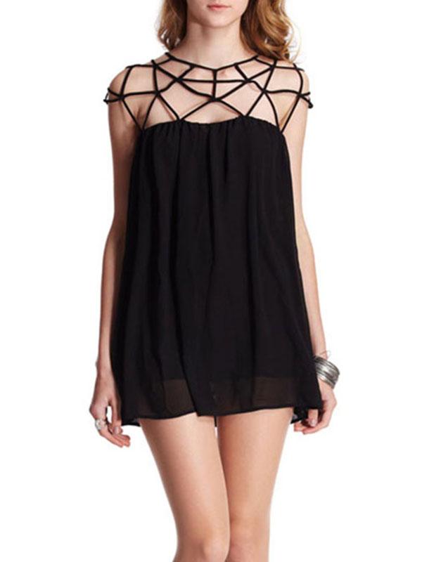 Black Cut-out Upper Sleeveless Chiffon Smock Sexy Dress : KissChic.com