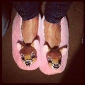 shoes,disney,cozy,chill,pink,bambi,slippers