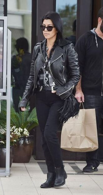 shirt jacket ankle boots biker jacket kourtney kardashian pants jeans shoes
