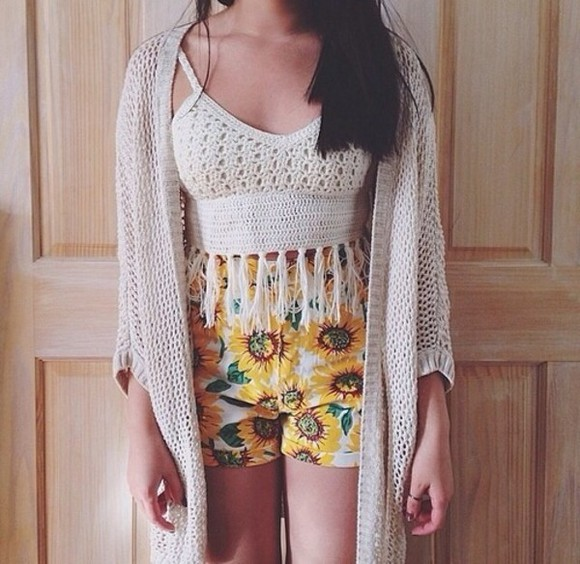 shorts sweater tank top