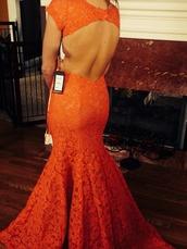 dress,lace,mermaid,backless,prom,rust,mermaid prom dress,backless prom dress