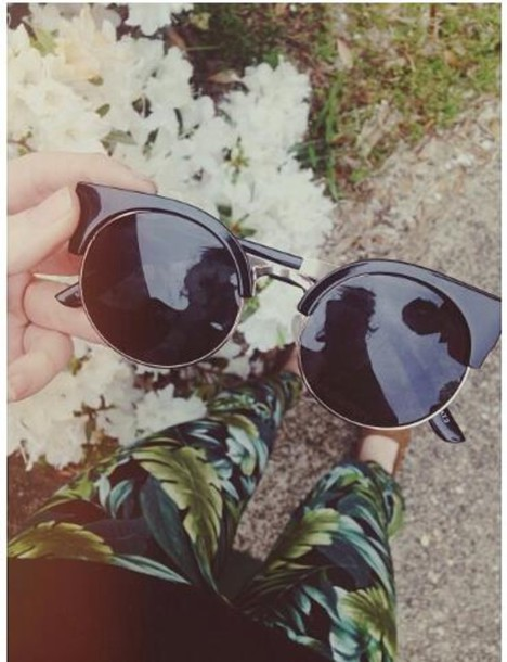 pants leaf pattern jeans tropical sunglasses