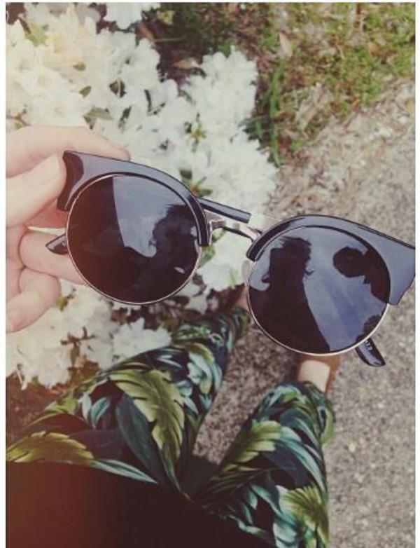 pants leaf pattern jeans tropical sunglasses