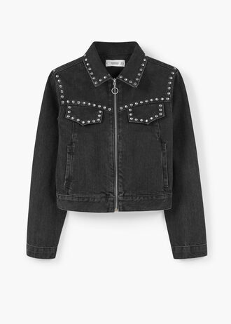 jacket black jacket back to school studs denim jacket mango