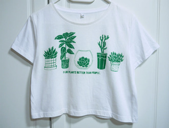 shirt plants graphic tee aesthetic green white shirt quote on it