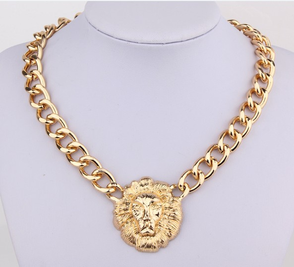 Free shipping! HOT Sale!Vintage Lion Necklace,Gold Lion avatar gold  chain collar Necklade NL123-in Chain Necklaces from Jewelry on Aliexpress.com