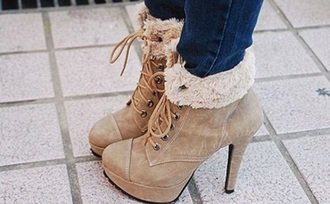 shoes brown shoes booties boots heels brown cute fur brown boots brown booties furry boots