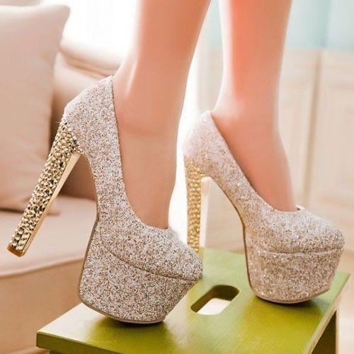 Hot womens shoes bling bling starry sky pumps 6cm platform 15cm block high heels