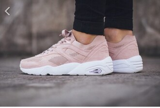 shoes trinomic puma pink beige white girl women puma trinomic r698 babe like live low top sneakers suede sneakers pink sneakers