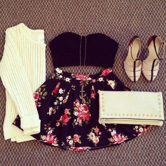 skirt white sweater pullover black crop top floral skirt wallet heels shoes clothes cross necklace bustier jewels jewelry