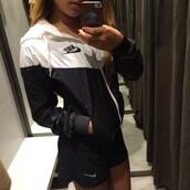 jacket,nike sweater,nike,black and white,dope,nike jacket,fashion,white,black,neon,urban,trendy,sportswear