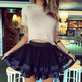 skirt black skater skirt ribbon jewels shirt