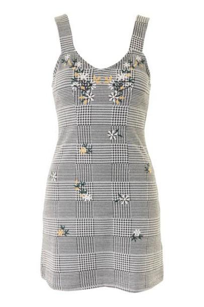 Topshop dress pinafore dress black gingham