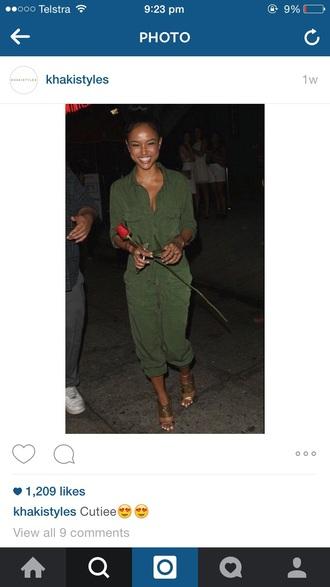 jumpsuit green khaki