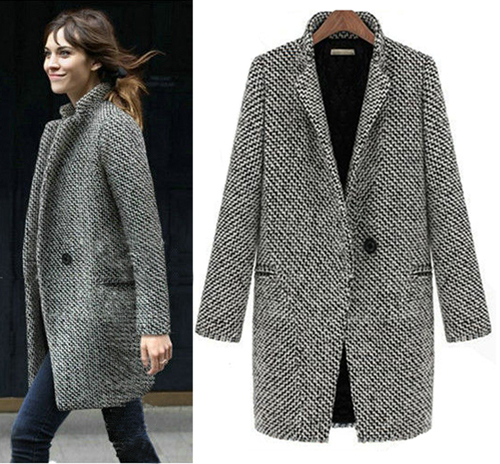Designed New Fall/Winter Trench Coat Women Grey Medium Long