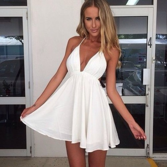 dress cute white dress backless dress gorgeous sexy party dresses girly