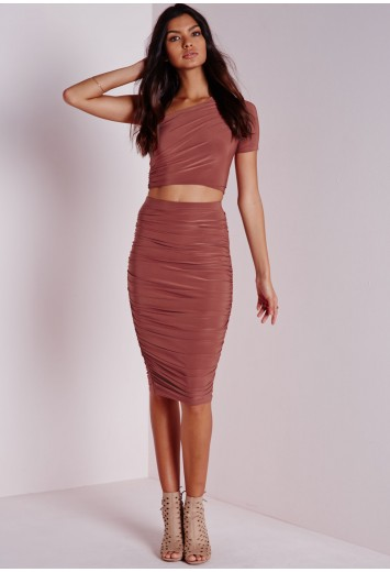 Missguided - Slinky Side Ruched Midi Skirt Terracotta