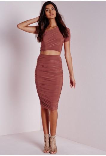 Missguided - Slinky Side Ruched Midi Skirt Terracotta