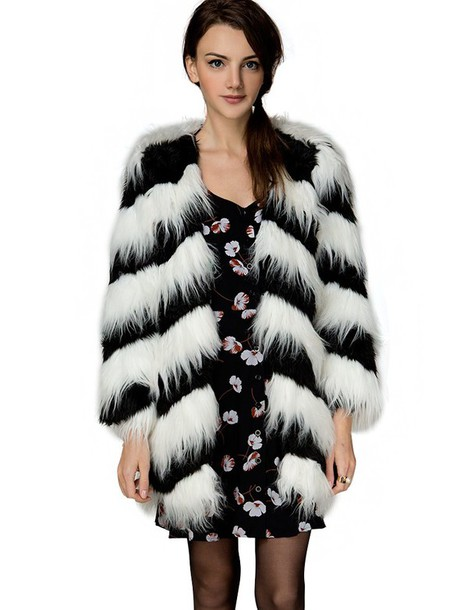 Black And White Faux Fur Coat | Down Coat