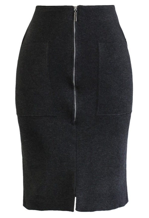 skirt chicwish zip knitwear pencil skirt