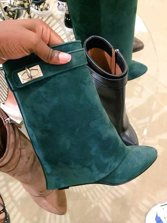 shoes army green boots suede boots fold over boots covered heel boots