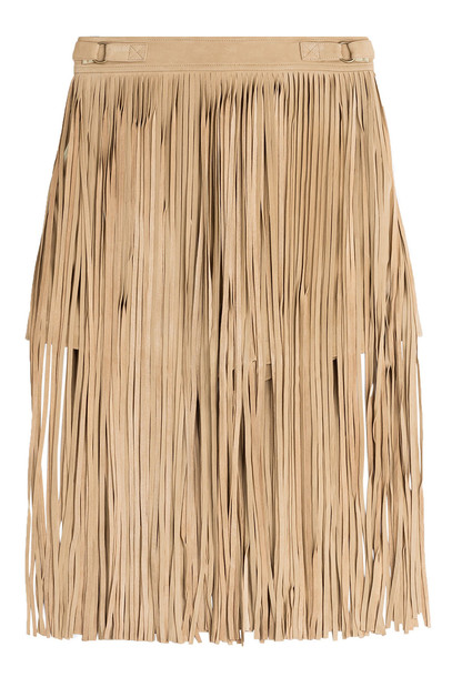 Tamara Mellon Fringed Suede Shorts  in beige / beige