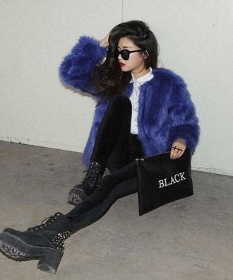 coat fur dyed fur blue fur coat fur coat faux fur coat
