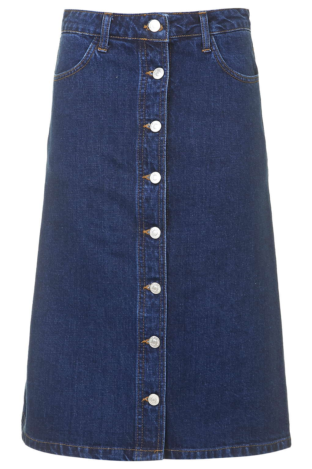 Denim Button Front Midi Skirt - Skirts - Clothing