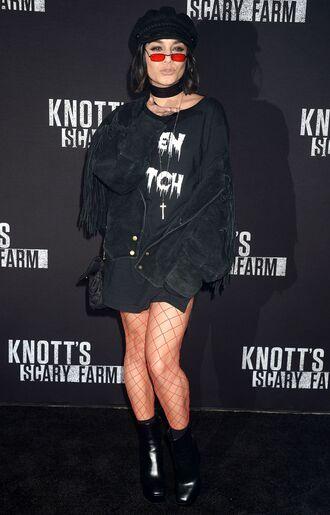 sweater dress sweater dress sweatshirt oversized vanessa hudgens fall outfits boots tights sunglasses