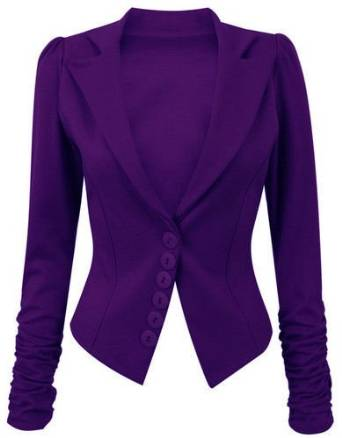 Long Ruched Sleeve Button Front Panell Slim Fit Blazer / Jacket ...