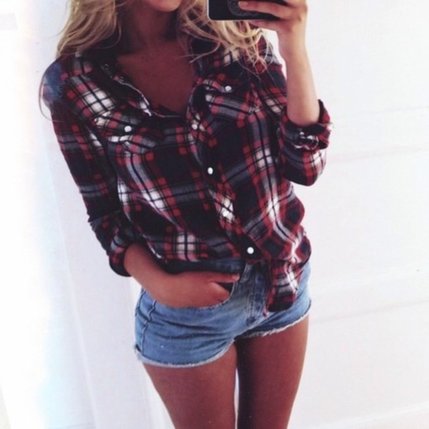 Blouse skirt red black country style summer cute for Country girl flannel shirts