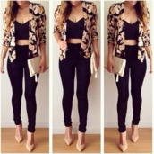jacket,bag,black high waist pants,top,black crop top,cardigan,shirt leggings cardaign,jeans,black,shoes,purse,handbag,floral blazer,shirt,flowers,jewels,style,fashion,floral,crop tops,coat,floral jacket,regular jeans,roses,blazer,shorts,outfit,heels,beige,nude,nude high heels,blouse,sexy,pants,trendy,cutejacket,home accessory,spring,necklace,gold,classy,elegant,cute,romper,serpent,marron,noir,sweater