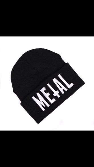 hat black hat metal black beanie