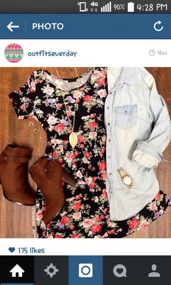 denim shirt dress roses