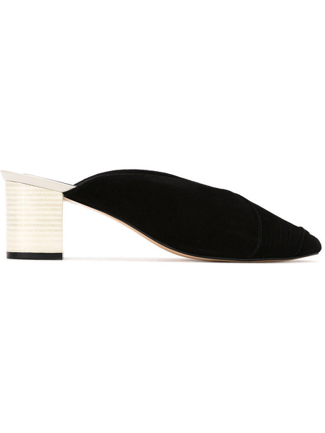 Lilly Sarti style women mules cotton black shoes