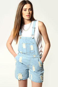 Amy Ripped Distressed Denim Dungarees at boohoo.com