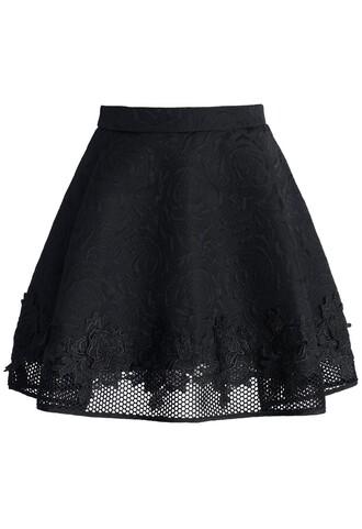 chicwish black rose jacquard skirt mini skirt