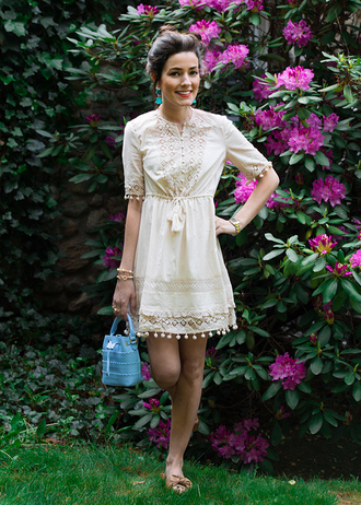 classy girls with pearls blogger dress shoes bag jewels summer outfits summer dress bucket bag blue bag sandals
