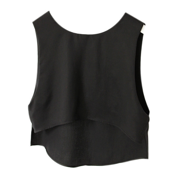 Asymmetric Black Sleeveless Shirt - Polyvore
